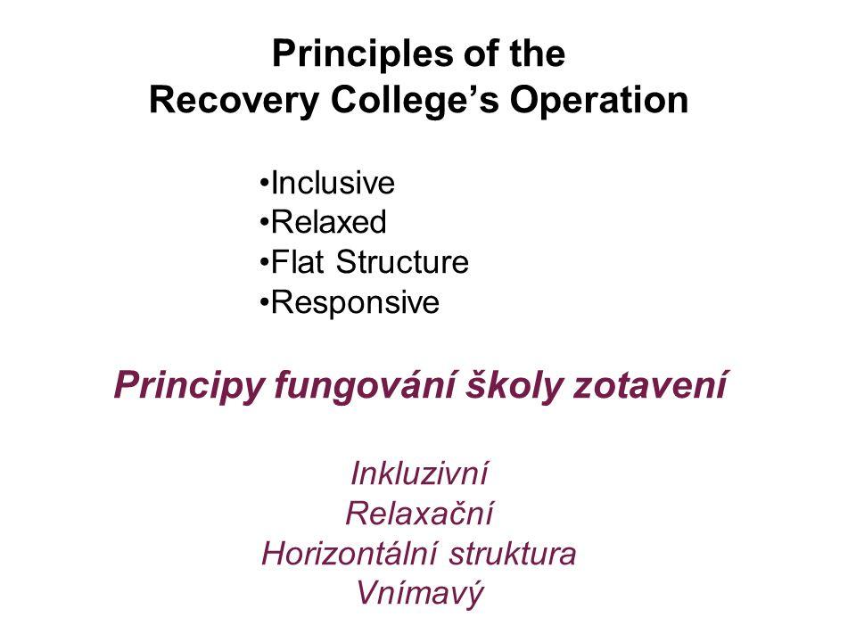 Principles of the Recovery College's Operation Inclusive Relaxed Flat Structure Responsive Principy fungování školy zotavení Inkluzivní Relaxační Horizontální struktura Vnímavý