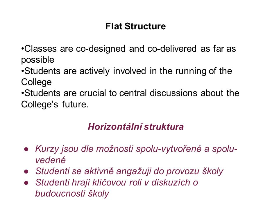 Flat Structure Classes are co-designed and co-delivered as far as possible Students are actively involved in the running of the College Students are c