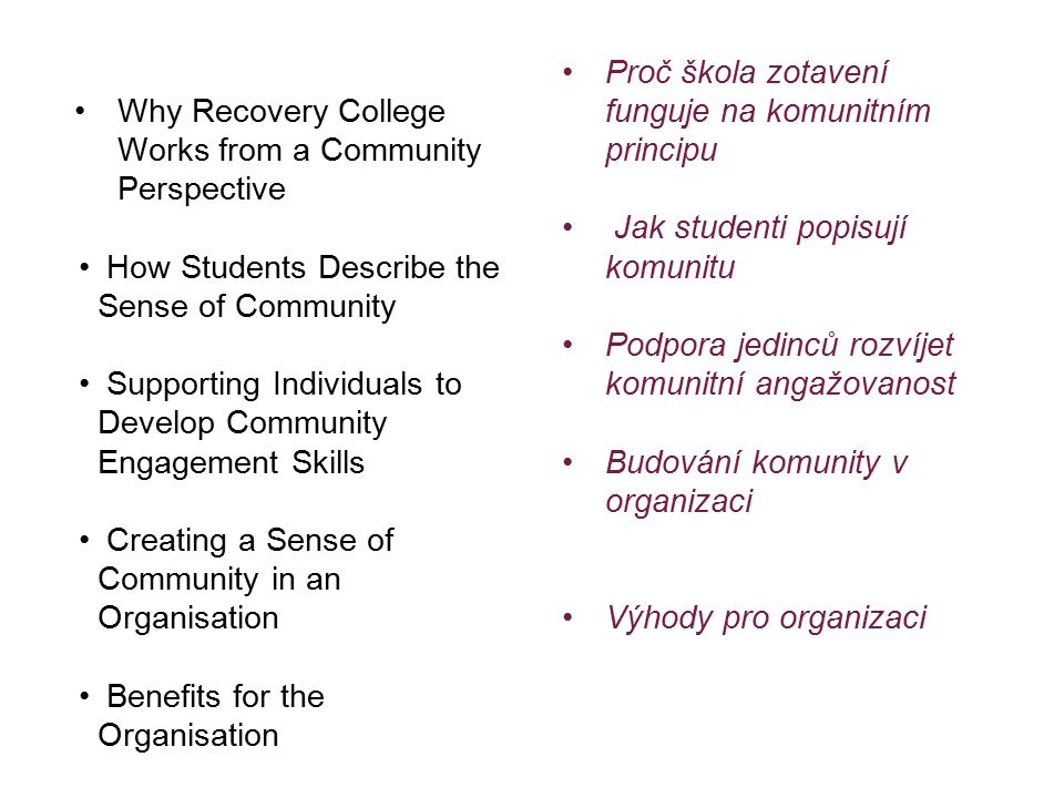 Why Recovery College Works from a Community Perspective How Students Describe the Sense of Community Supporting Individuals to Develop Community Engagement Skills Creating a Sense of Community in an Organisation Benefits for the Organisation Proč škola zotavení funguje na komunitním principu Jak studenti popisují komunitu Podpora jedinců rozvíjet komunitní angažovanost Budování komunity v organizaci Výhody pro organizaci