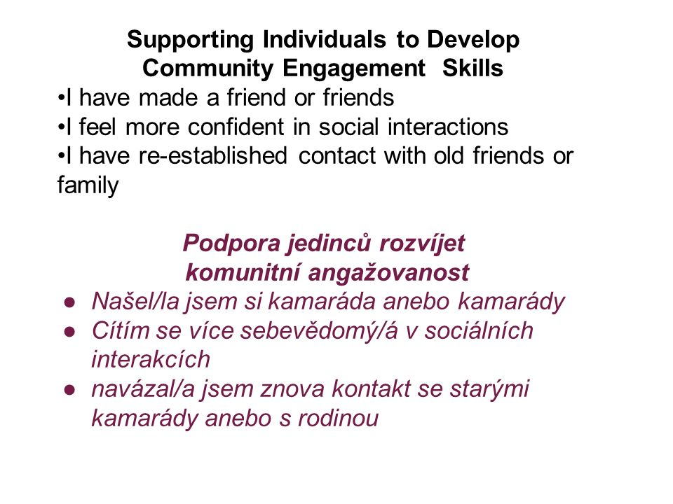 Supporting Individuals to Develop Community Engagement Skills I have made a friend or friends I feel more confident in social interactions I have re-e