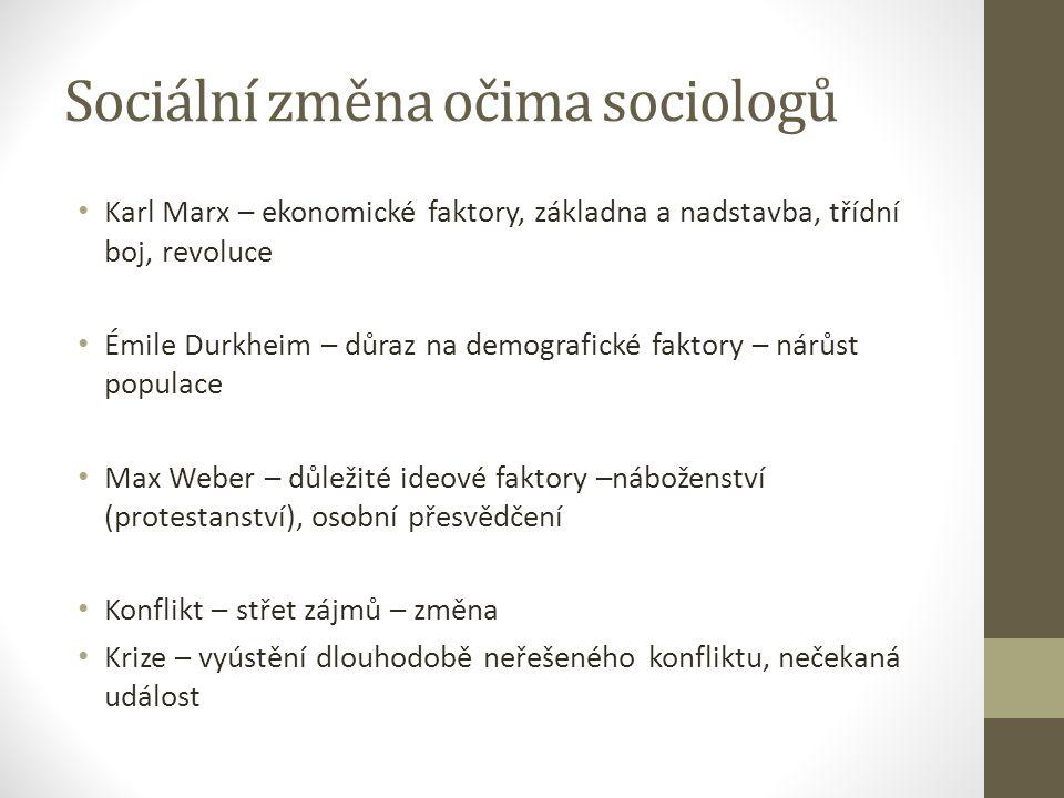 Sociální změna očima sociologů Karl Marx – ekonomické faktory, základna a nadstavba, třídní boj, revoluce Émile Durkheim – důraz na demografické fakto