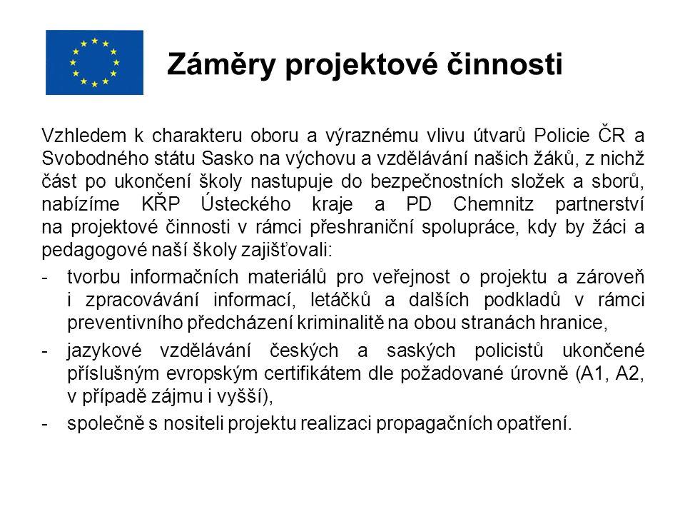 Záměry projektové činnosti Vzhledem k charakteru oboru a výraznému vlivu útvarů Policie ČR a Svobodného státu Sasko na výchovu a vzdělávání našich žák
