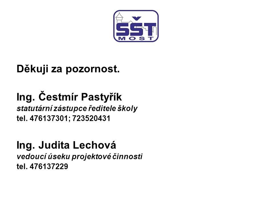 Děkuji za pozornost.Ing. Čestmír Pastyřík statutární zástupce ředitele školy tel.
