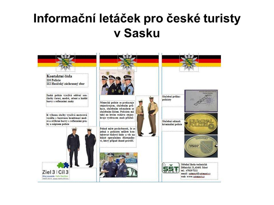 Informační letáček pro české turisty v Sasku