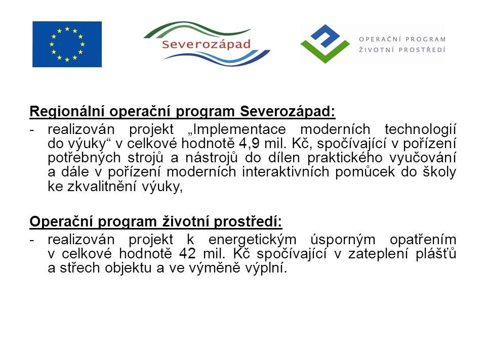 """Regionální operační program Severozápad: -realizován projekt """"Implementace moderních technologií do výuky"""" v celkové hodnotě 4,9 mil. Kč, spočívající"""
