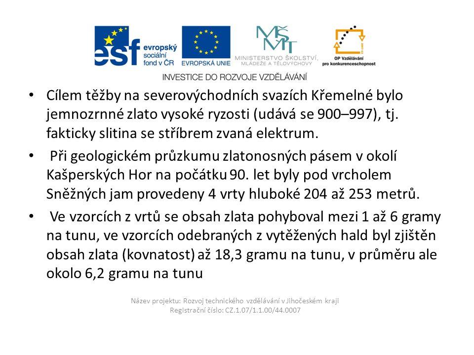 Název projektu: Rozvoj technického vzdělávání v Jihočeském kraji Registrační číslo: CZ.1.07/1.1.00/44.0007 Cílem těžby na severovýchodních svazích Křemelné bylo jemnozrnné zlato vysoké ryzosti (udává se 900–997), tj.