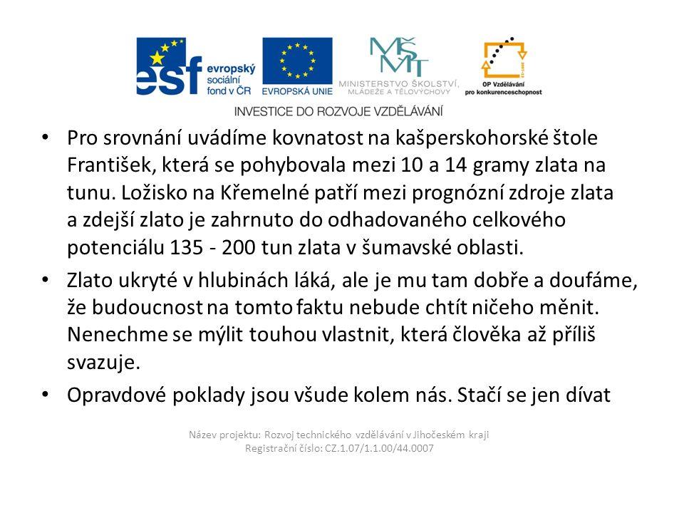 Název projektu: Rozvoj technického vzdělávání v Jihočeském kraji Registrační číslo: CZ.1.07/1.1.00/44.0007 Pro srovnání uvádíme kovnatost na kašpersko