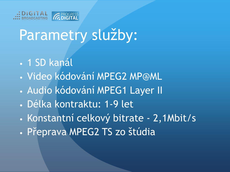 Parametry služby: 1 SD kanál Video kódování MPEG2 MP@ML Audio kódování MPEG1 Layer II Délka kontraktu: 1-9 let Konstantní celkový bitrate - 2,1Mbit/s