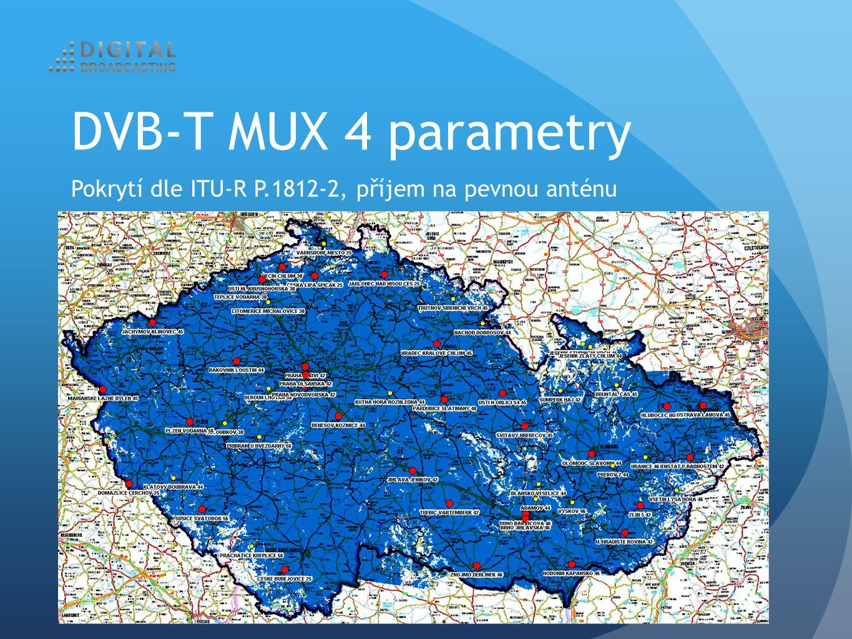 Pokrytí dle ITU-R P.1812-2, příjem na pevnou anténu DVB-T MUX 4 parametry