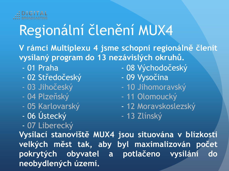 V rámci Multiplexu 4 jsme schopni regionálně členit vysílaný program do 13 nezávislých okruhů.