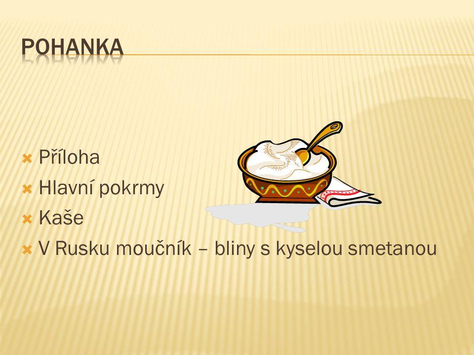  Příloha  Hlavní pokrmy  Kaše  V Rusku moučník – bliny s kyselou smetanou