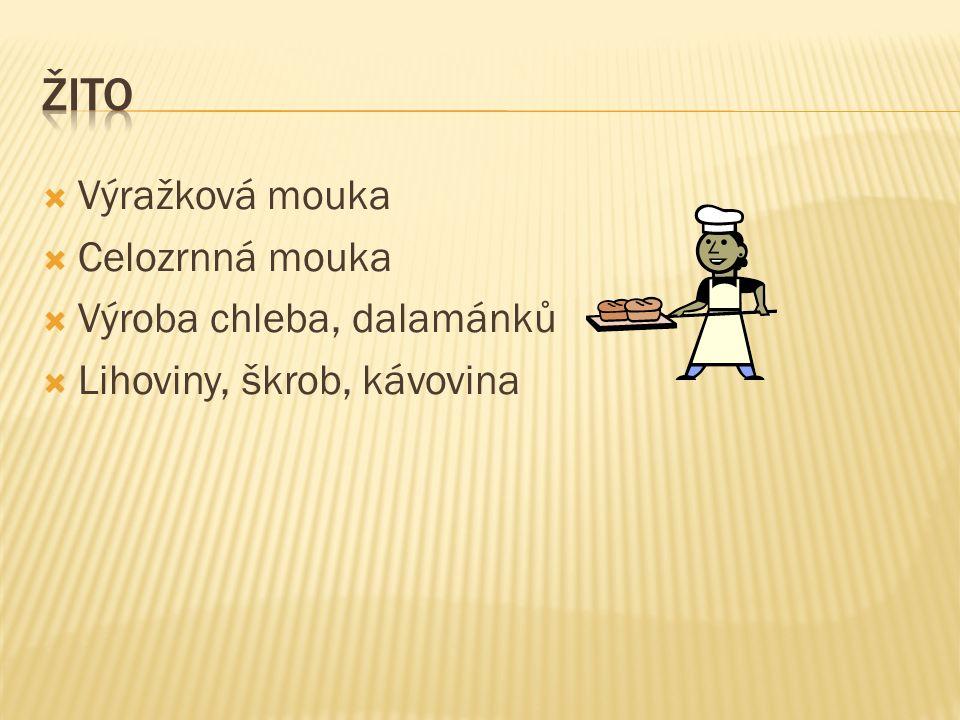  Výražková mouka  Celozrnná mouka  Výroba chleba, dalamánků  Lihoviny, škrob, kávovina