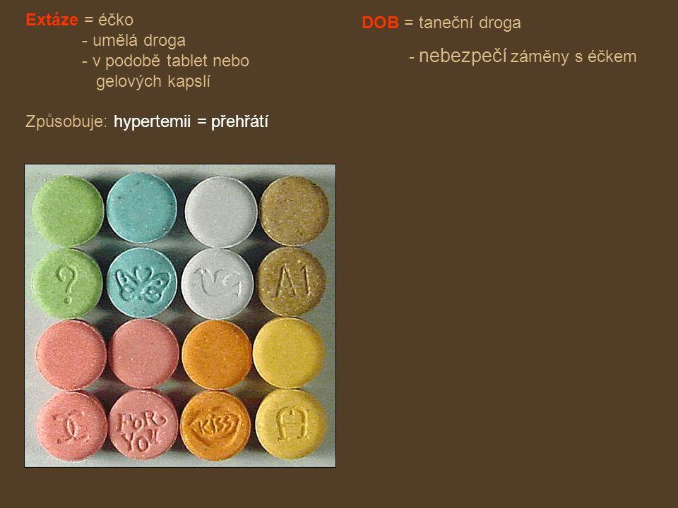 Extáze = éčko - umělá droga - v podobě tablet nebo gelových kapslí Způsobuje: hypertemii = přehřátí DOB = taneční droga - nebezpečí záměny s éčkem