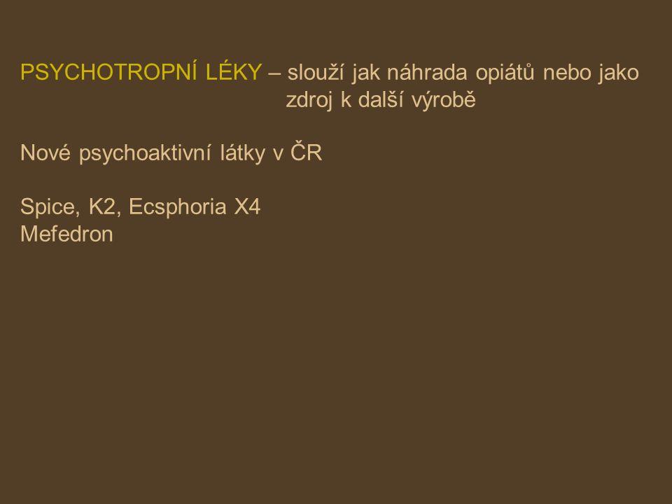 PSYCHOTROPNÍ LÉKY – slouží jak náhrada opiátů nebo jako zdroj k další výrobě Nové psychoaktivní látky v ČR Spice, K2, Ecsphoria X4 Mefedron