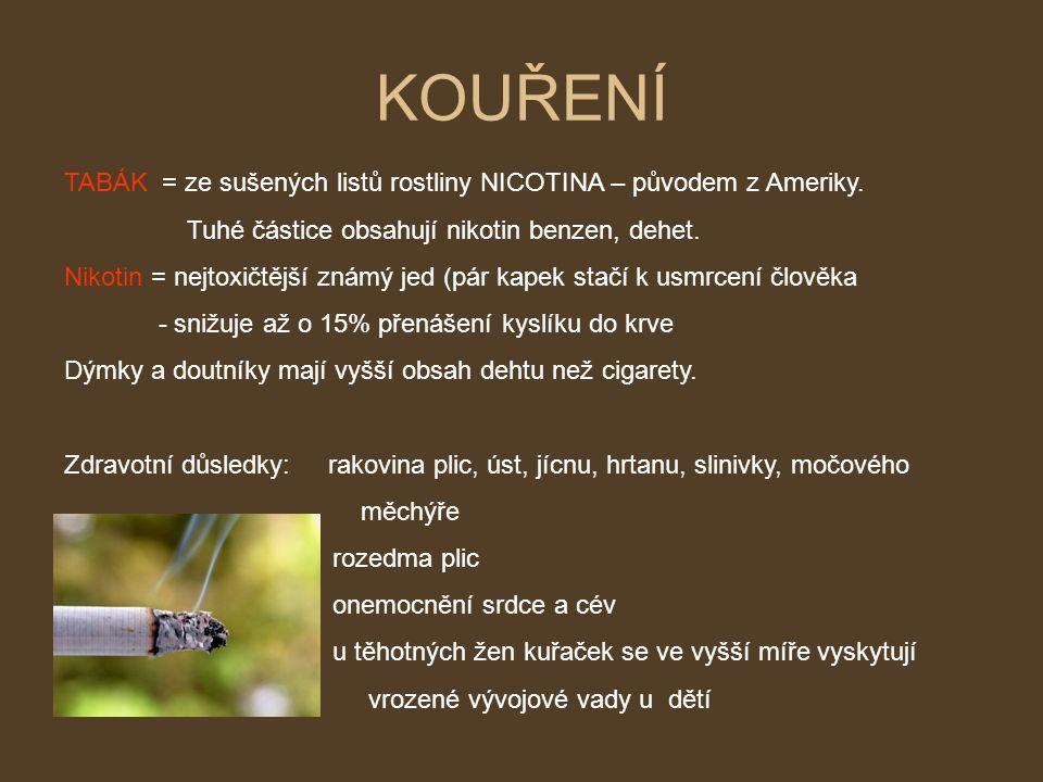 KOUŘENÍ TABÁK = ze sušených listů rostliny NICOTINA – původem z Ameriky.