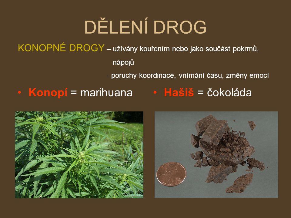 DĚLENÍ DROG Konopí = marihuanaHašiš = čokoláda KONOPNÉ DROGY – užívány kouřením nebo jako součást pokrmů, nápojů - poruchy koordinace, vnímání času, změny emocí