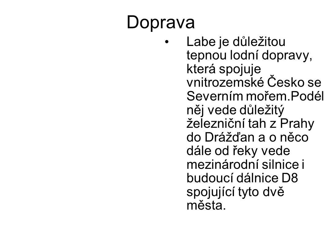 Doprava Labe je důležitou tepnou lodní dopravy, která spojuje vnitrozemské Česko se Severním mořem.Podél něj vede důležitý železniční tah z Prahy do Drážďan a o něco dále od řeky vede mezinárodní silnice i budoucí dálnice D8 spojující tyto dvě města.