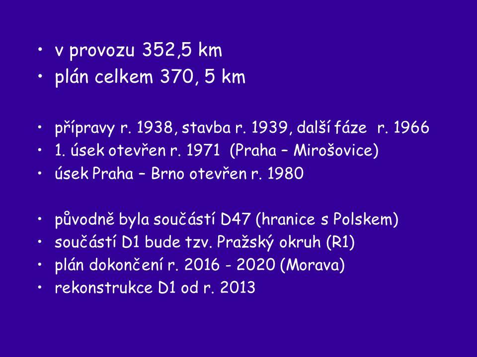 v provozu 352,5 km plán celkem 370, 5 km přípravy r.