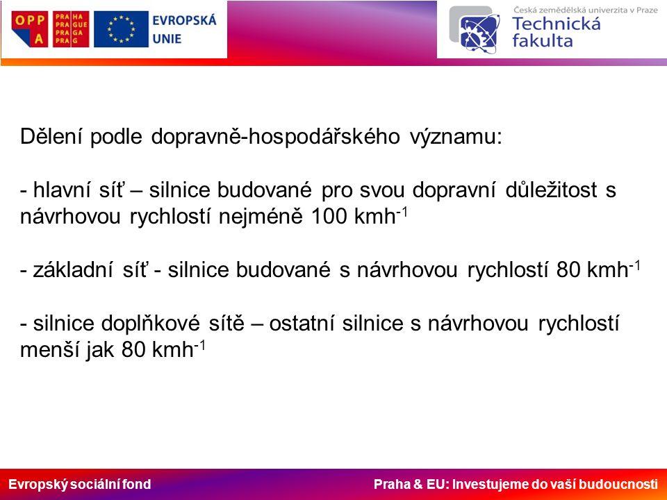 Evropský sociální fond Praha & EU: Investujeme do vaší budoucnosti Dělení podle dopravně-hospodářského významu: - hlavní síť – silnice budované pro svou dopravní důležitost s návrhovou rychlostí nejméně 100 kmh -1 - základní síť - silnice budované s návrhovou rychlostí 80 kmh -1 - silnice doplňkové sítě – ostatní silnice s návrhovou rychlostí menší jak 80 kmh -1