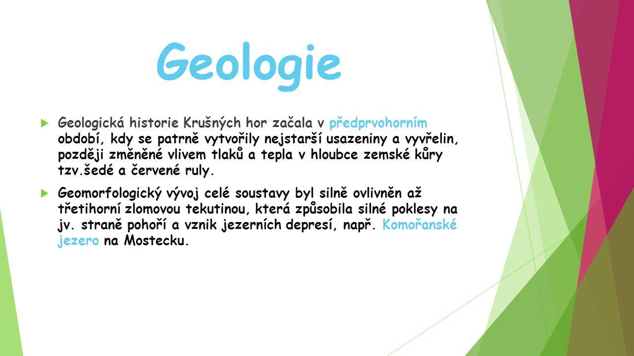 Geologie  Geologická historie Krušných hor začala v předprvohorním období, kdy se patrně vytvořily nejstarší usazeniny a vyvřelin, později změněné vlivem tlaků a tepla v hloubce zemské kůry tzv.šedé a červené ruly.