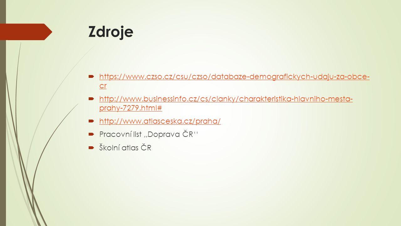 Zdroje  https://www.czso.cz/csu/czso/databaze-demografickych-udaju-za-obce- cr https://www.czso.cz/csu/czso/databaze-demografickych-udaju-za-obce- cr  http://www.businessinfo.cz/cs/clanky/charakteristika-hlavniho-mesta- prahy-7279.html# http://www.businessinfo.cz/cs/clanky/charakteristika-hlavniho-mesta- prahy-7279.html#  http://www.atlasceska.cz/praha/ http://www.atlasceska.cz/praha/  Pracovní list,,Doprava ČR''  Školní atlas ČR