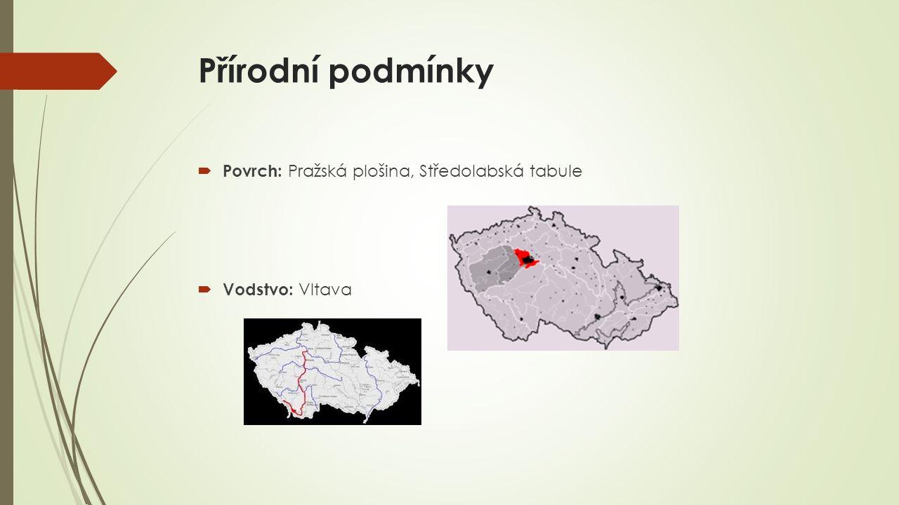 Přírodní podmínky  Povrch: Pražská plošina, Středolabská tabule  Vodstvo: Vltava
