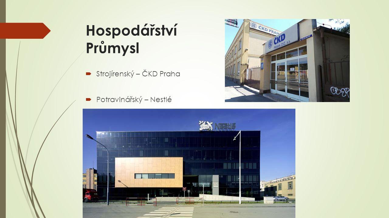Hospodářství Průmysl  Strojírenský – ČKD Praha  Potravinářský – Nestlé