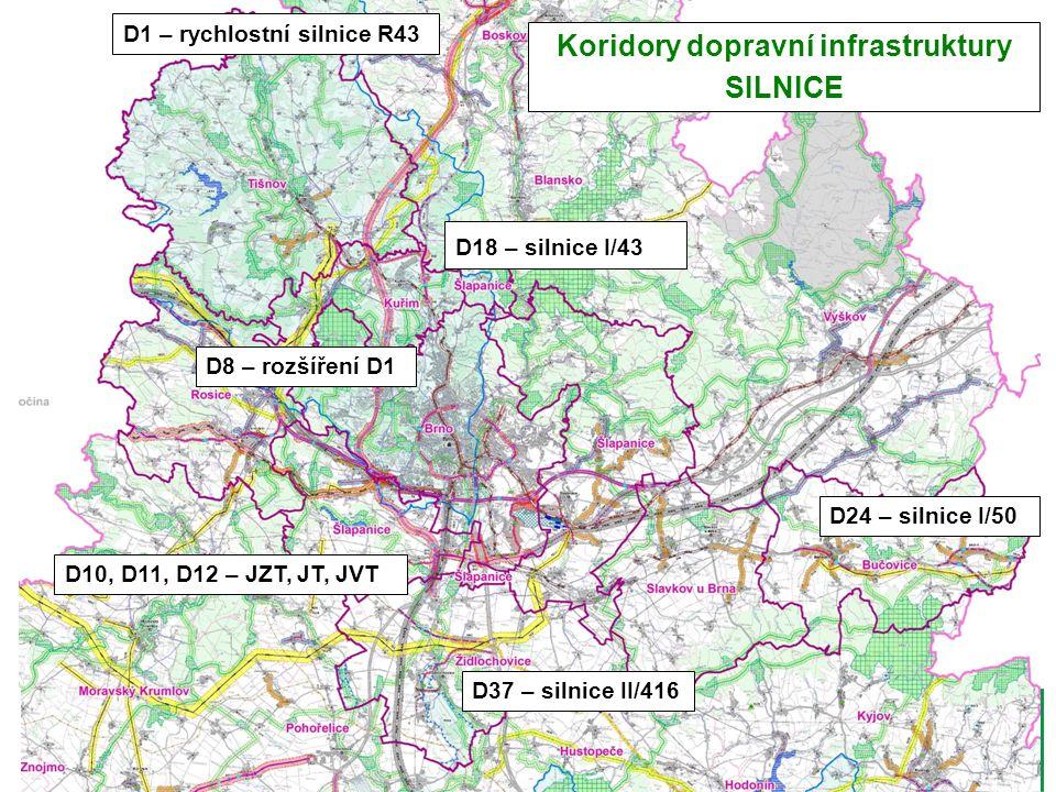 D1 – rychlostní silnice R43 D18 – silnice I/43 D8 – rozšíření D1 D10, D11, D12 – JZT, JT, JVT D24 – silnice I/50 D37 – silnice II/416 Koridory dopravní infrastruktury SILNICE