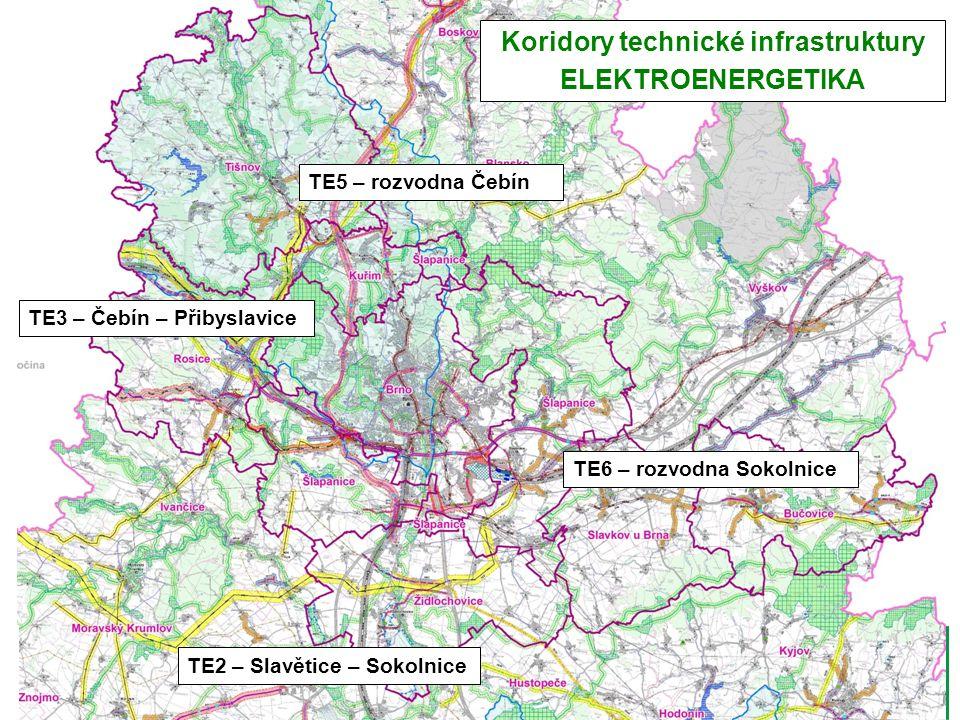 TE5 – rozvodna Čebín TE3 – Čebín – Přibyslavice TE6 – rozvodna Sokolnice Koridory technické infrastruktury ELEKTROENERGETIKA TE2 – Slavětice – Sokolni