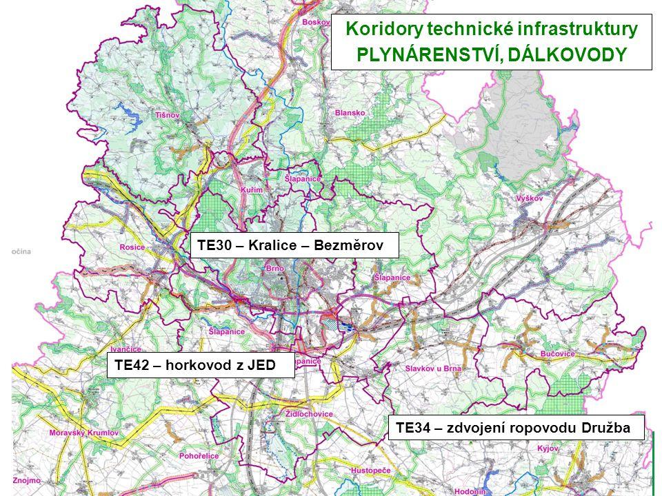 TE42 – horkovod z JED TE30 – Kralice – Bezměrov TE34 – zdvojení ropovodu Družba Koridory technické infrastruktury PLYNÁRENSTVÍ, DÁLKOVODY