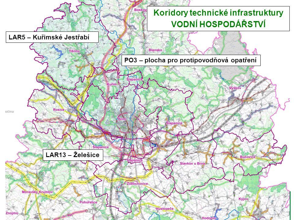 LAR13 – Želešice LAR5 – Kuřimské Jestřabí Koridory technické infrastruktury VODNÍ HOSPODÁŘSTVÍ PO3 – plocha pro protipovodňová opatření