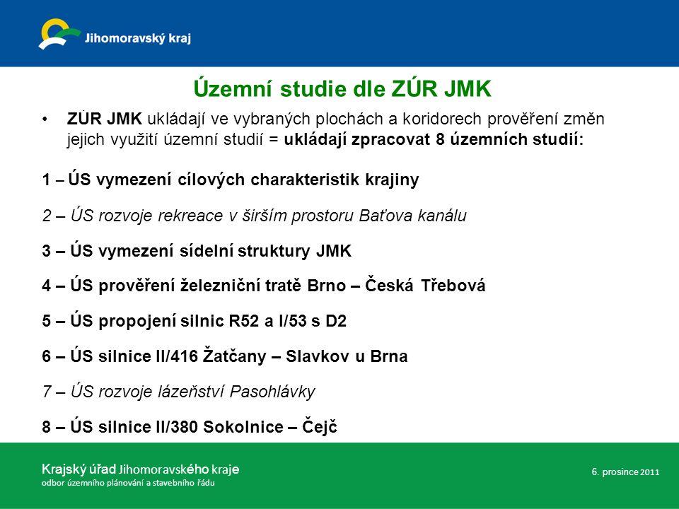 ZÚR JMK ukládají ve vybraných plochách a koridorech prověření změn jejich využití územní studií = ukládají zpracovat 8 územních studií: 1 – ÚS vymezení cílových charakteristik krajiny 2 – ÚS rozvoje rekreace v širším prostoru Baťova kanálu 3 – ÚS vymezení sídelní struktury JMK 4 – ÚS prověření železniční tratě Brno – Česká Třebová 5 – ÚS propojení silnic R52 a I/53 s D2 6 – ÚS silnice II/416 Žatčany – Slavkov u Brna 7 – ÚS rozvoje lázeňství Pasohlávky 8 – ÚS silnice II/380 Sokolnice – Čejč Krajský úřad Jihomoravsk ého kraj e odbor územního plánování a stavebního řádu 6.