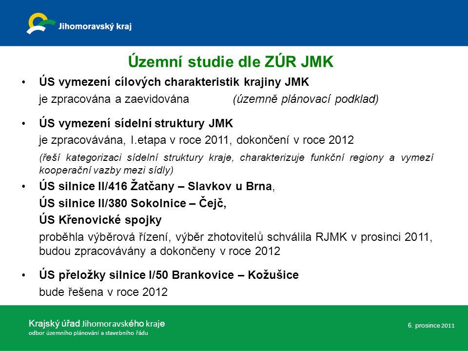 ÚS vymezení cílových charakteristik krajiny JMK je zpracována a zaevidována (územně plánovací podklad) ÚS vymezení sídelní struktury JMK je zpracovává
