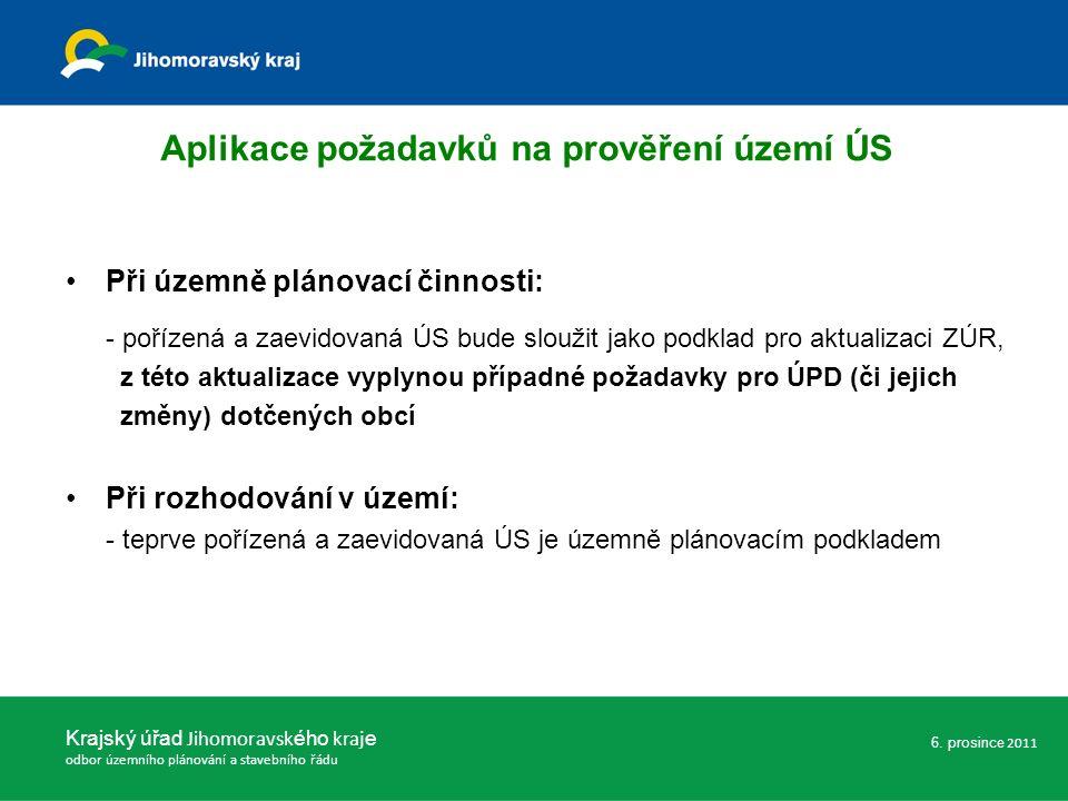 Při územně plánovací činnosti: - pořízená a zaevidovaná ÚS bude sloužit jako podklad pro aktualizaci ZÚR, z této aktualizace vyplynou případné požadav