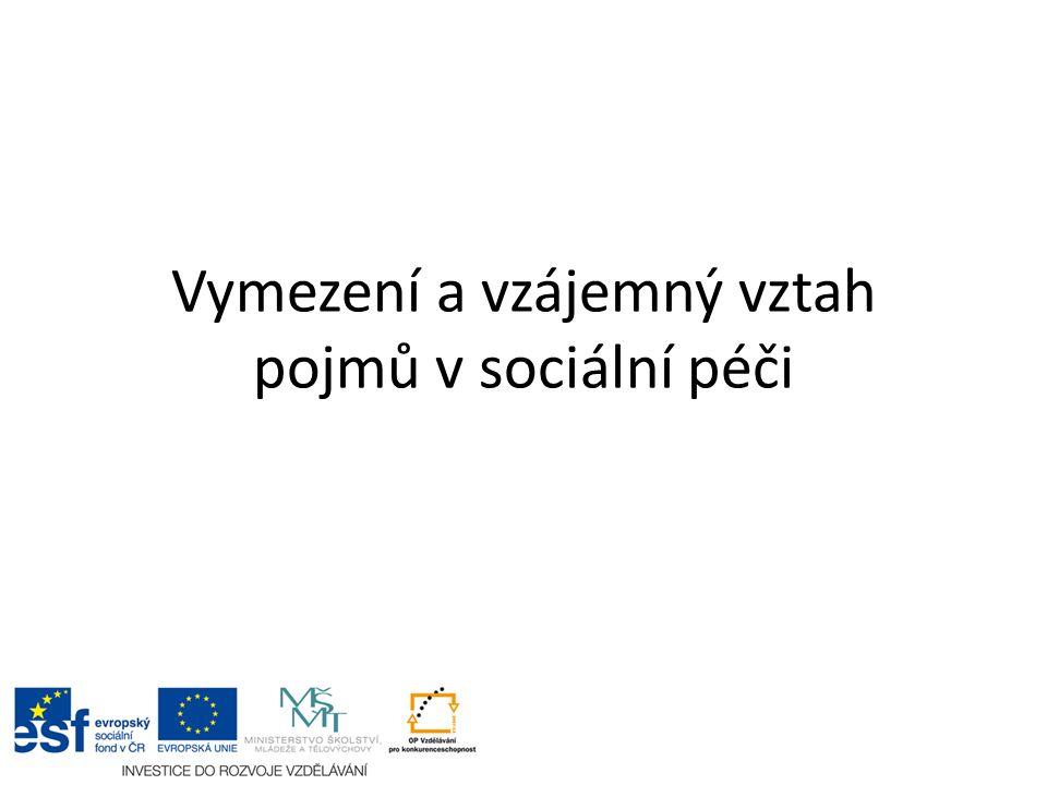 Vymezení a vzájemný vztah pojmů v sociální péči