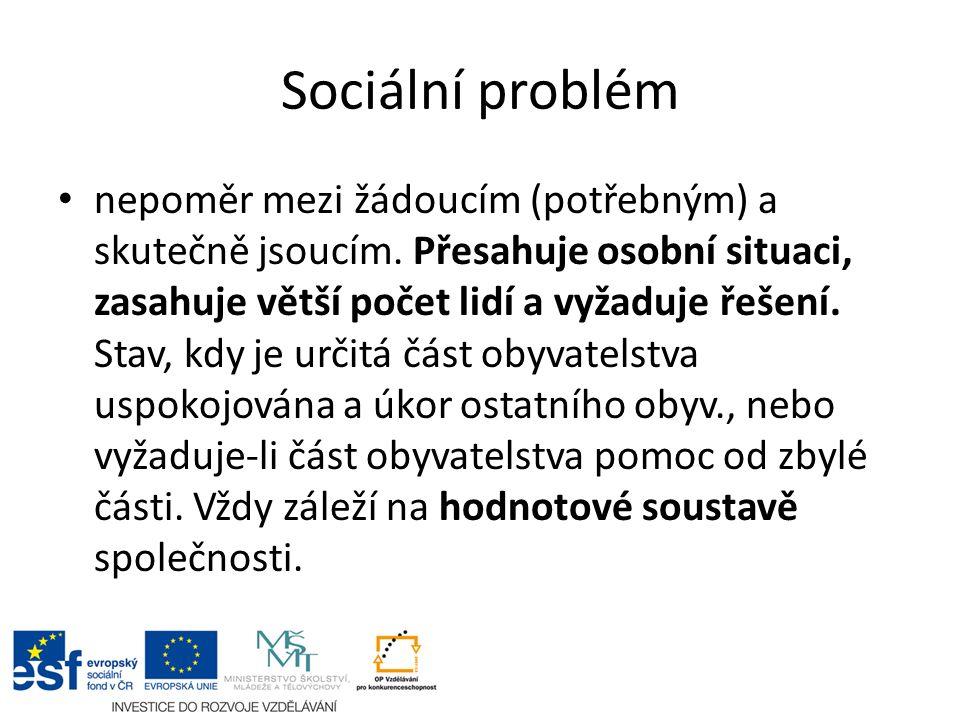 Sociální problém nepoměr mezi žádoucím (potřebným) a skutečně jsoucím.