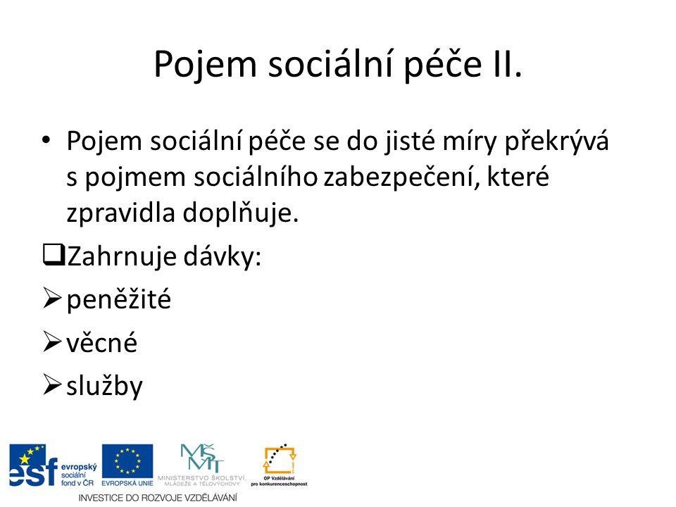 Pojem sociální péče II.