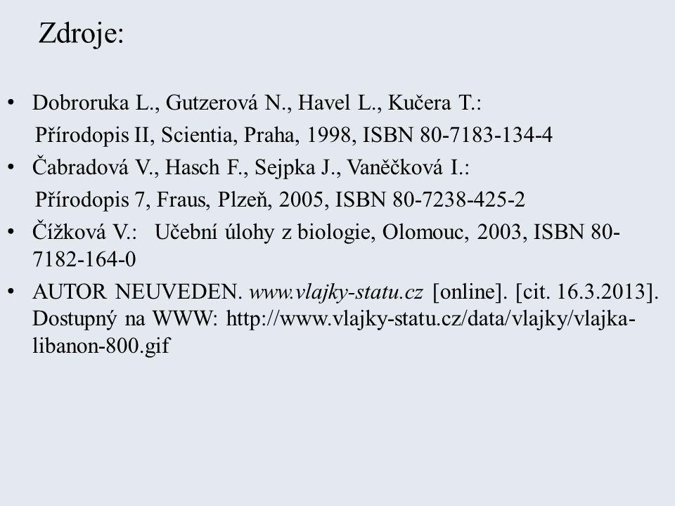 Zdroje: Dobroruka L., Gutzerová N., Havel L., Kučera T.: Přírodopis II, Scientia, Praha, 1998, ISBN 80-7183-134-4 Čabradová V., Hasch F., Sejpka J., V