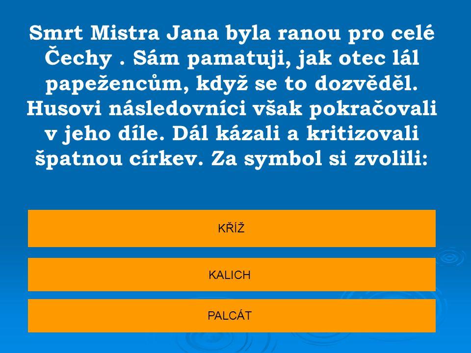 Smrt Mistra Jana byla ranou pro celé Čechy. Sám pamatuji, jak otec lál papežencům, když se to dozvěděl. Husovi následovníci však pokračovali v jeho dí