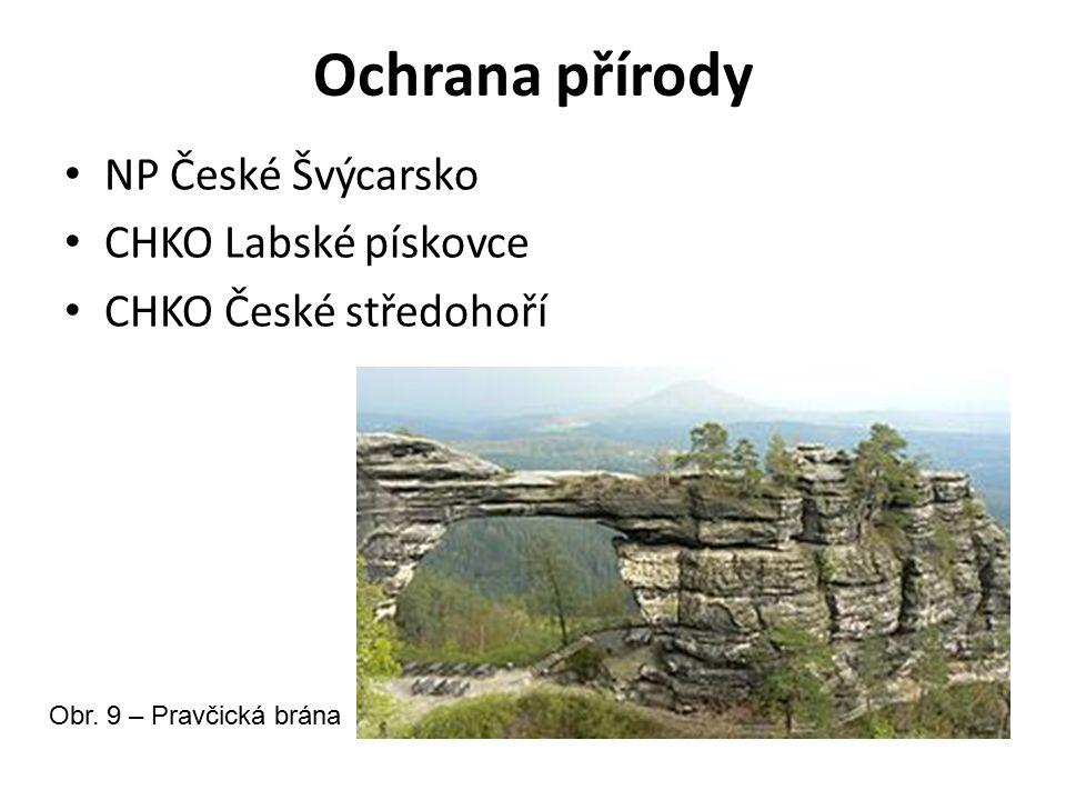 Ochrana přírody NP České Švýcarsko CHKO Labské pískovce CHKO České středohoří Obr. 9 – Pravčická brána