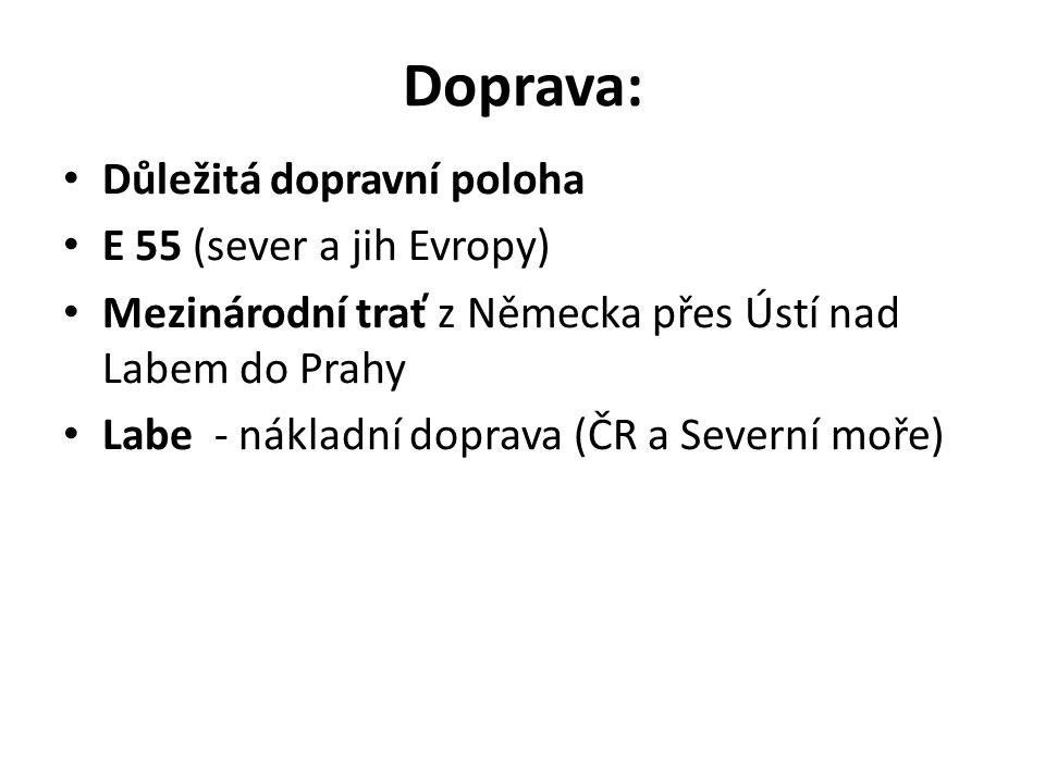 Doprava: Důležitá dopravní poloha E 55 (sever a jih Evropy) Mezinárodní trať z Německa přes Ústí nad Labem do Prahy Labe - nákladní doprava (ČR a Seve