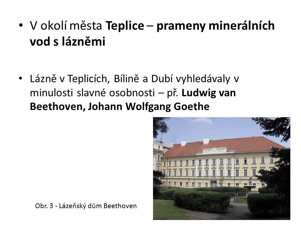 V okolí města Teplice – prameny minerálních vod s lázněmi Lázně v Teplicích, Bílině a Dubí vyhledávaly v minulosti slavné osobnosti – př. Ludwig van B