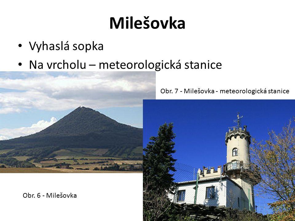 Milešovka Vyhaslá sopka Na vrcholu – meteorologická stanice Obr. 6 - Milešovka Obr. 7 - Milešovka - meteorologická stanice