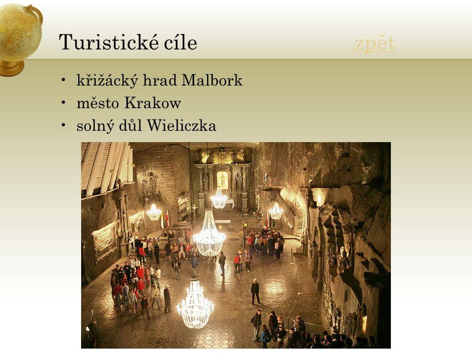 Turistické cíle zpět zpět křižácký hrad Malbork město Krakow solný důl Wieliczka