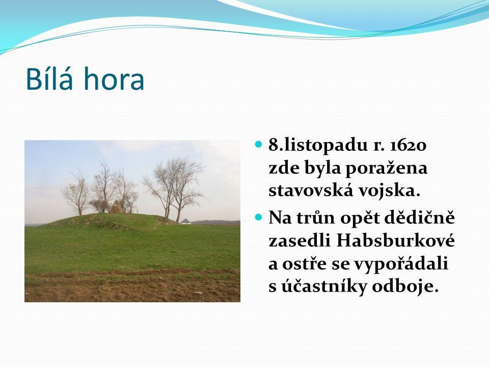 Bílá hora 8.listopadu r. 1620 zde byla poražena stavovská vojska.
