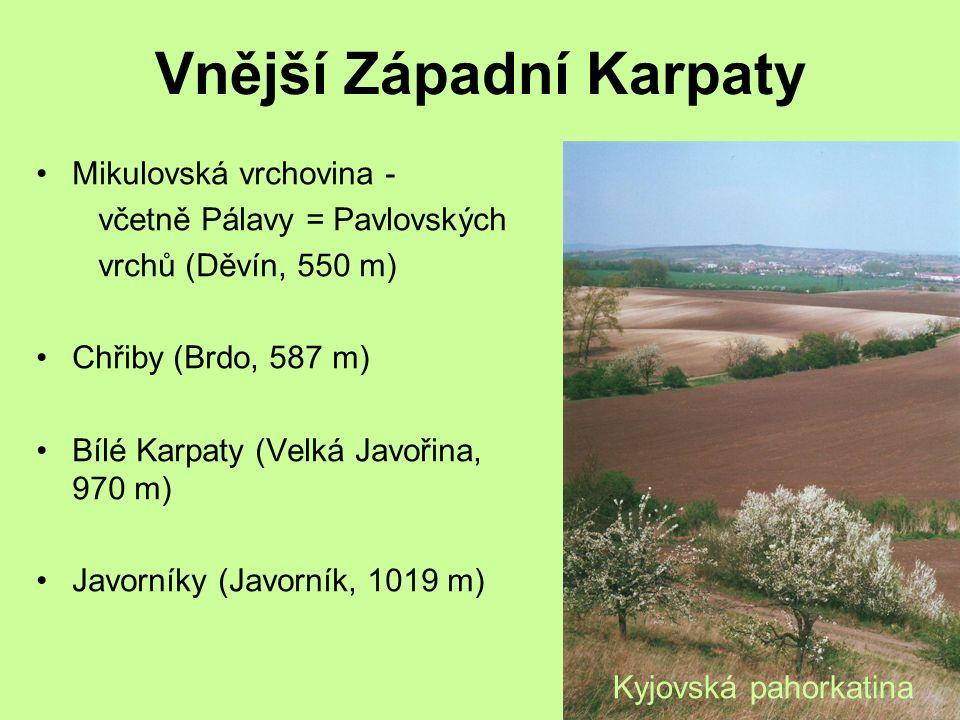 Vnější Západní Karpaty Mikulovská vrchovina - včetně Pálavy = Pavlovských vrchů (Děvín, 550 m) Chřiby (Brdo, 587 m) Bílé Karpaty (Velká Javořina, 970