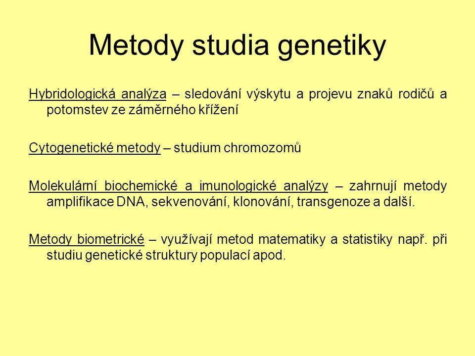 Metody studia genetiky Hybridologická analýza – sledování výskytu a projevu znaků rodičů a potomstev ze záměrného křížení Cytogenetické metody – studium chromozomů Molekulární biochemické a imunologické analýzy – zahrnují metody amplifikace DNA, sekvenování, klonování, transgenoze a další.