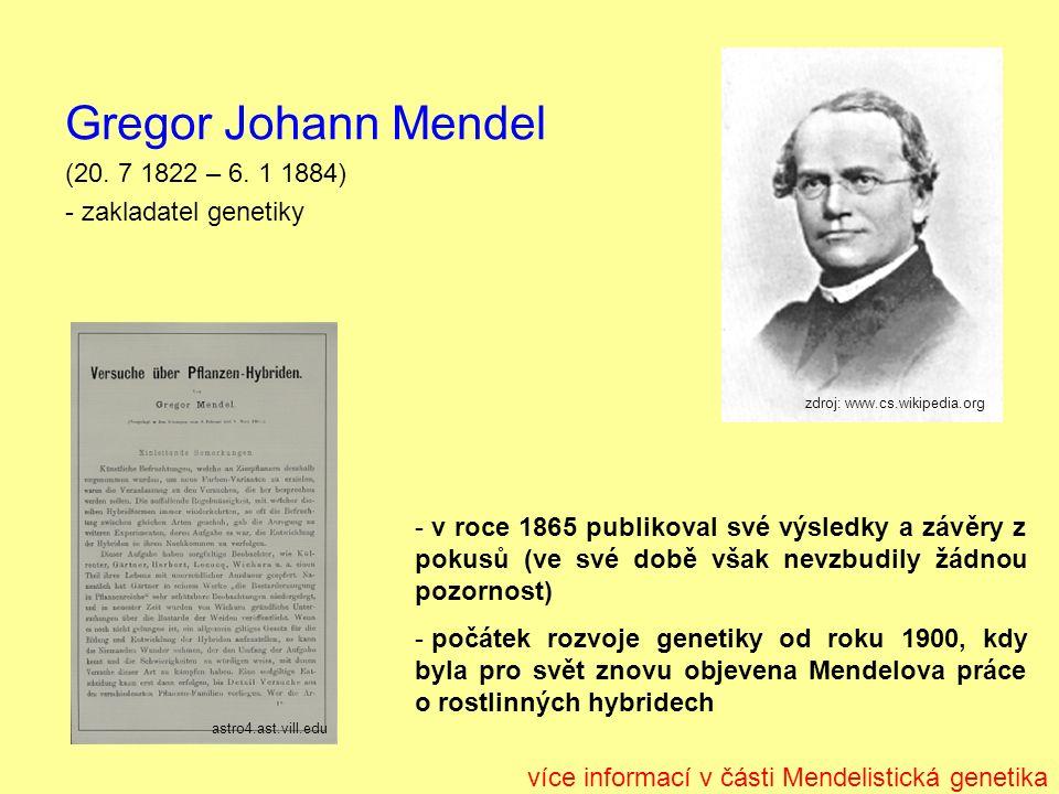 Gregor Johann Mendel (20. 7 1822 – 6.