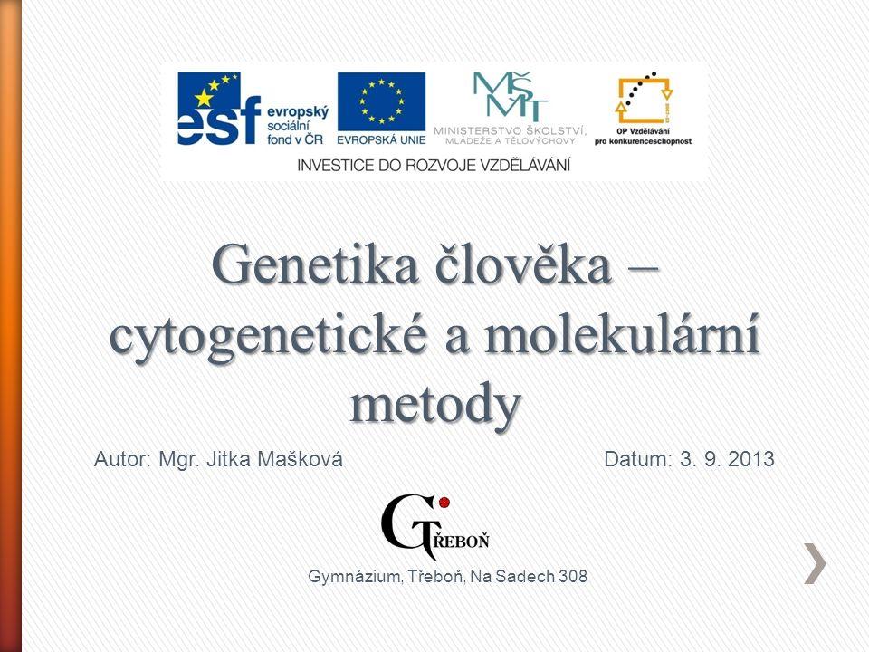 Genetika člověka – cytogenetické a molekulární metody Autor: Mgr.