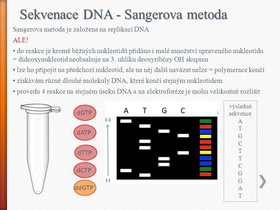 Sekvenace DNA - Sangerova metoda + fluorescenčně značené dideoxynukleotidy